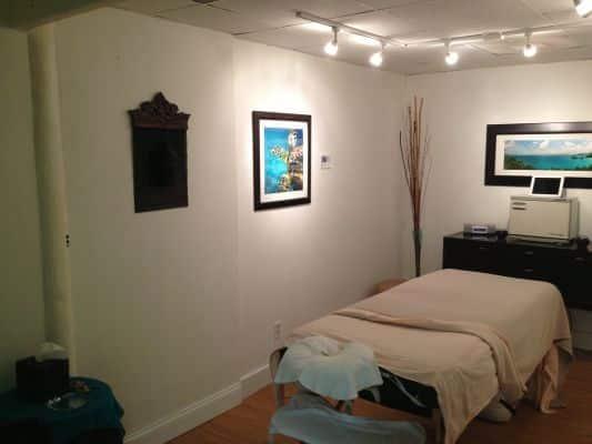 Massage room inside view